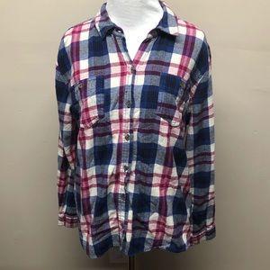 Mossimo Purple & Blue Plaid Flannel Button Down XL